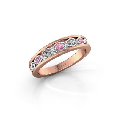 Stackable ring Laine 585 rose gold pink sapphire 2 mm