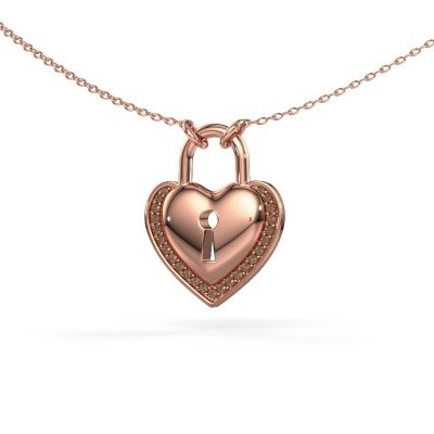 Halsketting Heartlock 375 rosé goud bruine diamant 0.115 crt