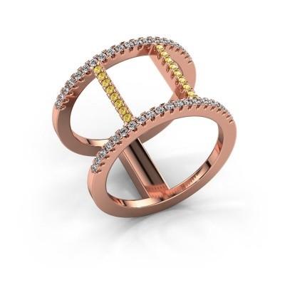 Ring Amee 375 rosé goud gele saffier 1.2 mm