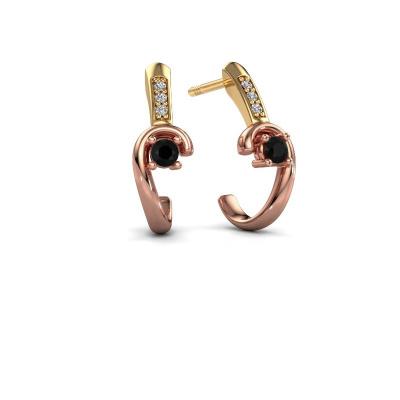 Oorbellen Ceylin 585 rosé goud zwarte diamant 0.184 crt