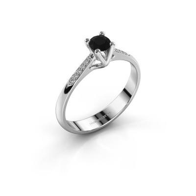 Promise ring Janna 2 585 witgoud zwarte diamant 0.30 crt