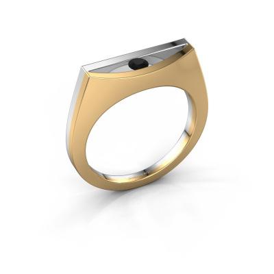 Ring Milou 585 gold black diamond 0.12 crt