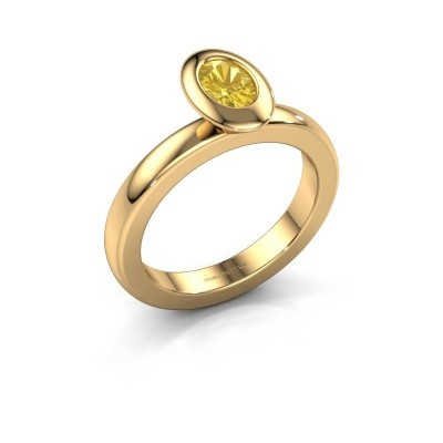 Stapelring Trudy Oval 585 goud gele saffier 6x4 mm