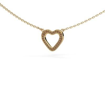 Foto van Hanger Heart 3 375 goud bruine diamant 0.07 crt