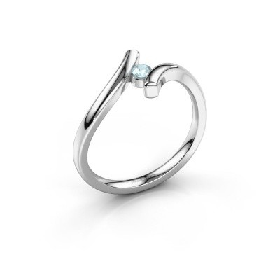 Foto van Ring Amy 950 platina aquamarijn 3 mm