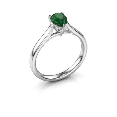 Foto van Verlovingsring Mignon per 1 585 witgoud smaragd 7x5 mm