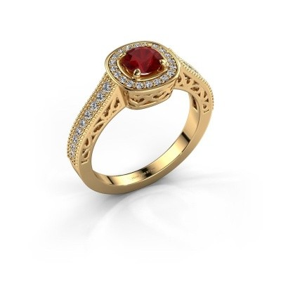 Verlovings ring Candi 375 goud robijn 5 mm