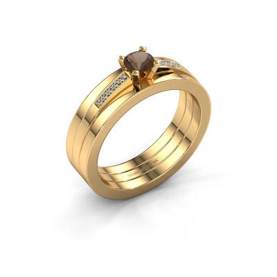 Verlobungsring Celeste 585 Gold Rauchquarz 4 mm