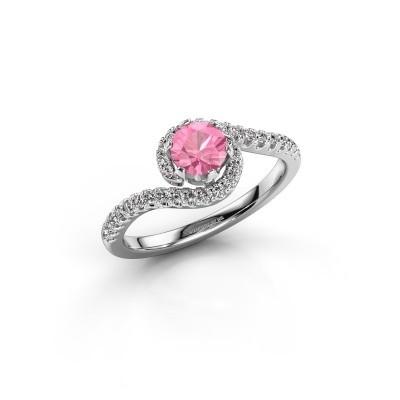 Engagement ring Elli 950 platinum pink sapphire 5 mm