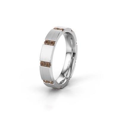 Huwelijksring WH2132L14BM 925 zilver bruine diamant ±4x2.2 mm