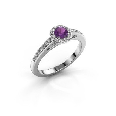 Engagement ring Aaf 925 silver amethyst 4.2 mm