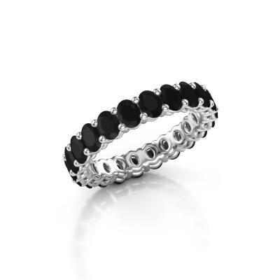 Aanschuifring Heddy OVL 3x4 950 platina zwarte diamant 3.96 crt