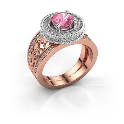 Ring Joy 585 rosé goud roze saffier 6.5 mm