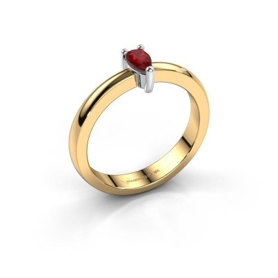 Picture of Engagement ring Florentina Pear 585 gold ruby 7x5 mm