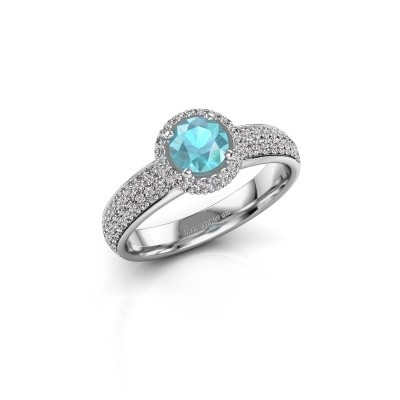 Engagement ring Mildred 925 silver blue topaz 5 mm