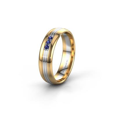 Trouwring WH0405L35X 585 goud saffier ±5x1.5 mm