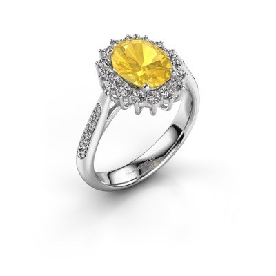 Picture of Engagement ring Margien 2 585 white gold yellow sapphire 7x5 mm