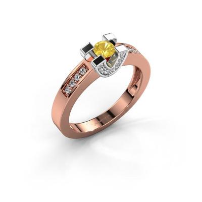 Verlovingsring Jasmijn 2 585 rosé goud gele saffier 4 mm