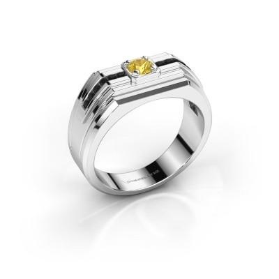Foto van Heren ring Oliver 925 zilver gele saffier 4 mm