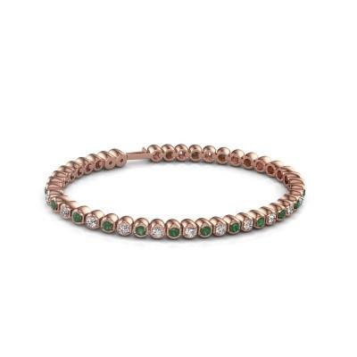 Foto van Tennisarmband Asley 375 rosé goud smaragd 3 mm
