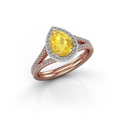 Verlovingsring Elenore 2 585 rosé goud gele saffier 8x6 mm