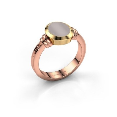 Pinkring Jake 1 585 rosé goud rode lagensteen 10x8 mm