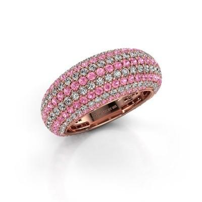 Foto van Ring Lyndia 375 rosé goud roze saffier 0.8 mm