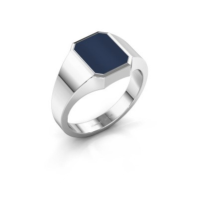 Signet ring Glenn 1 375 white gold dark blue sardonyx 10x8 mm