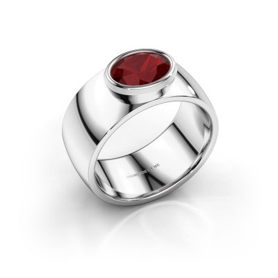 Ring Wilma 1 925 zilver robijn 8x6 mm