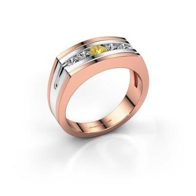 Foto van Heren ring Huub 585 rosé goud gele saffier 3.7 mm