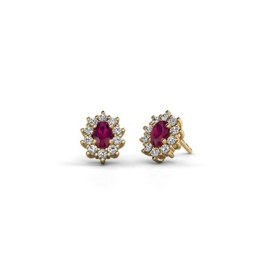 Picture of Earrings Leesa 375 gold rhodolite 6x4 mm