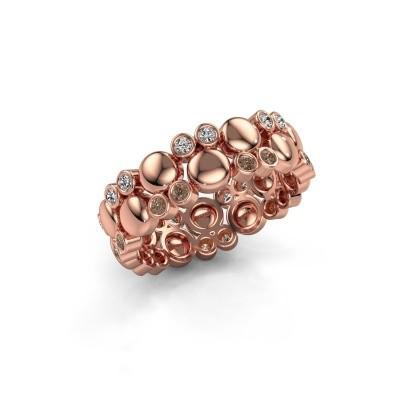 Foto van Ring Joanne 375 rosé goud bruine diamant 0.336 crt