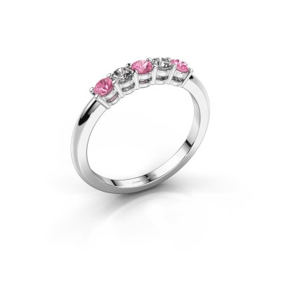 Picture of Promise ring Michelle 5 585 white gold pink sapphire 2.7 mm