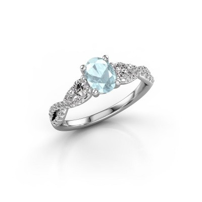 Picture of Engagement ring Marilou OVL 950 platinum aquamarine 7x5 mm