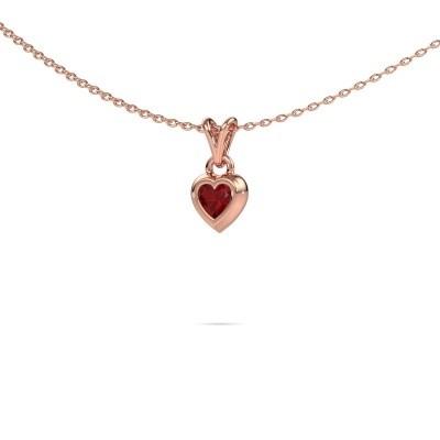 Foto van Hanger Charlotte Heart 375 rosé goud robijn 4 mm