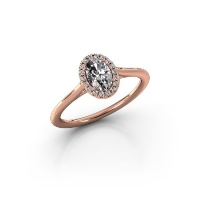 Engagement ring Seline 1 375 rose gold zirconia 6x4 mm