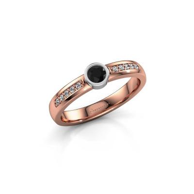 Engagement ring Ise 2 585 rose gold black diamond 0.315 crt
