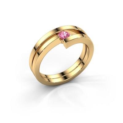 Ring Nikia 585 goud roze saffier 3.4 mm