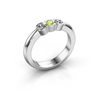 Picture of Engagement ring Lotte 3 585 white gold peridot 3 mm