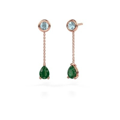 Picture of Drop earrings Laurie 3 375 rose gold emerald 7x5 mm