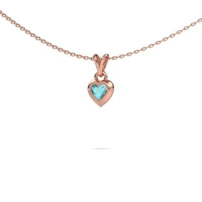 Foto van Hanger Charlotte Heart 375 rosé goud blauw topaas 4 mm