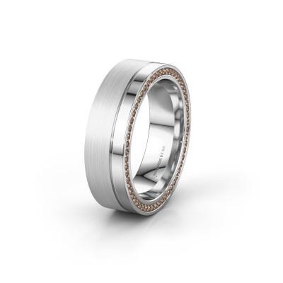 Trouwring WH0313L16B 925 zilver bruine diamant ±6x2 mm