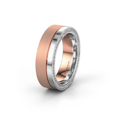 Wedding ring WH0313L16B 585 rose gold zirconia ±0.24x0.08 in
