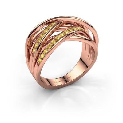 Foto van Ring Fem 2 375 rosé goud gele saffier 1.5 mm