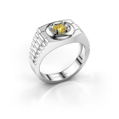 Foto van Rolex stijl ring Edward 925 zilver gele saffier 4.7 mm