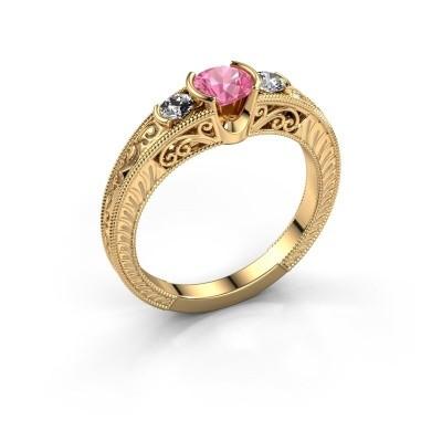 Foto van Promise ring Tasia 375 goud roze saffier 5 mm