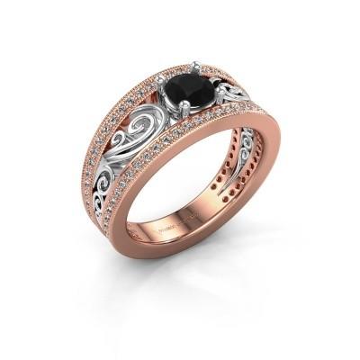 Foto van Verlovingsring Julliana 585 rosé goud zwarte diamant 1.01 crt