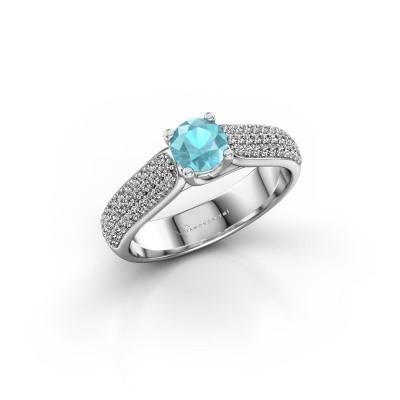 Foto van Verlovingsring Leoness 585 witgoud blauw topaas 5 mm