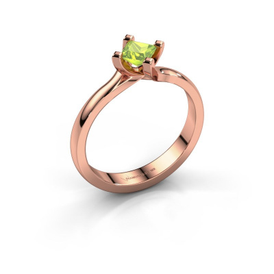 Engagement ring Dewi Square 585 rose gold peridot 4 mm