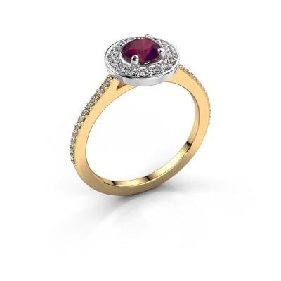 Ring Agaat 2 585 gold rhodolite 5 mm